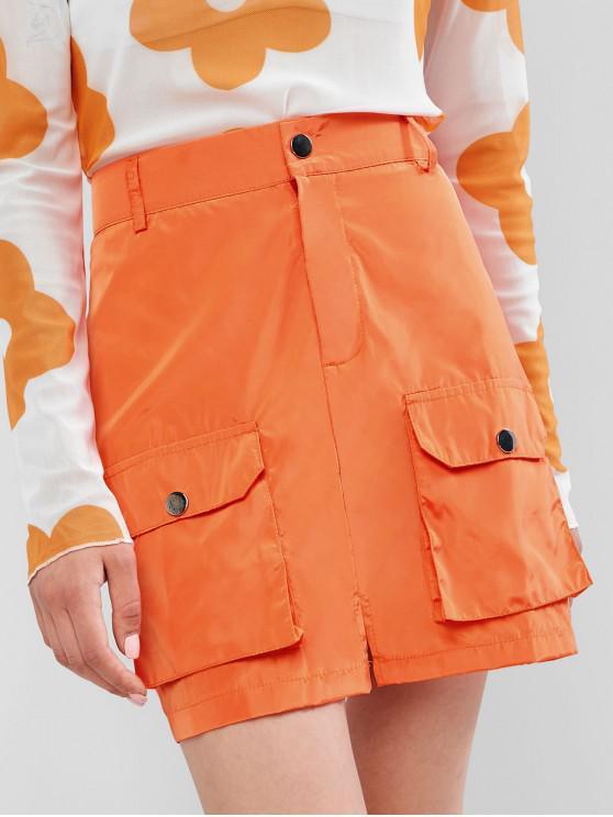 womens Slit Neon Zipper Fly Mini Pocket Skirt - PUMPKIN ORANGE L