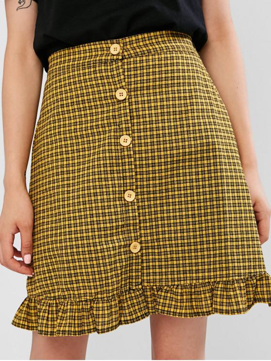 outfits Buttons Ruffled Gingham A Line Skirt - GOLDENROD ONE SIZE