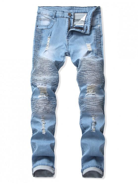 褶皺拼接撕裂長直騎自行車牛仔褲 - 牛仔褲藍色 38