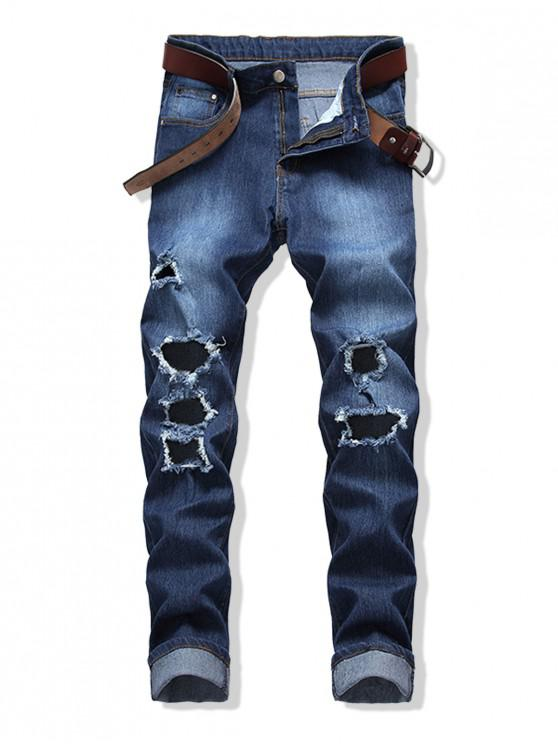 Pantalones vaqueros rectos largos y desgastados con bolsillo trasero rasgado - Azul Oscuro de Denim 38