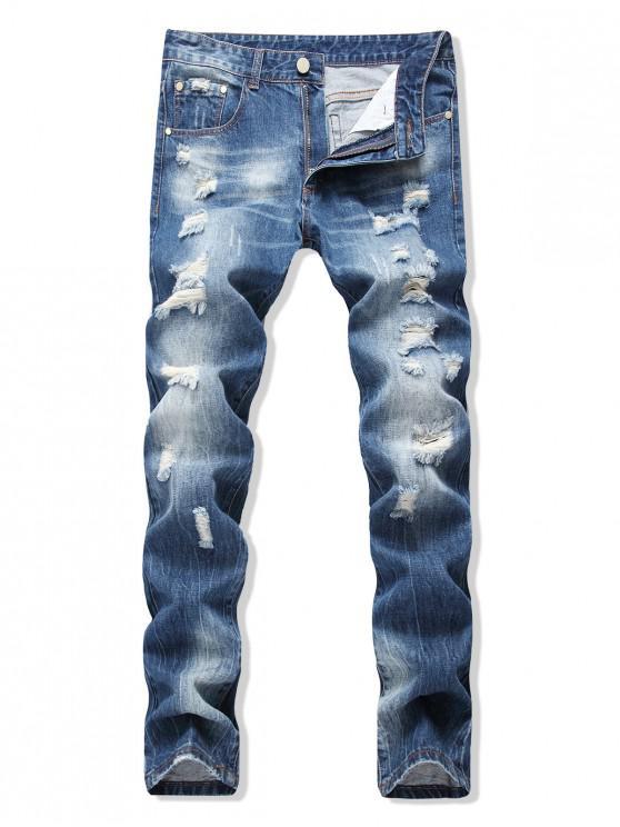Vaqueros traseros largos y rectos destruidos - Azul de Jeans  36