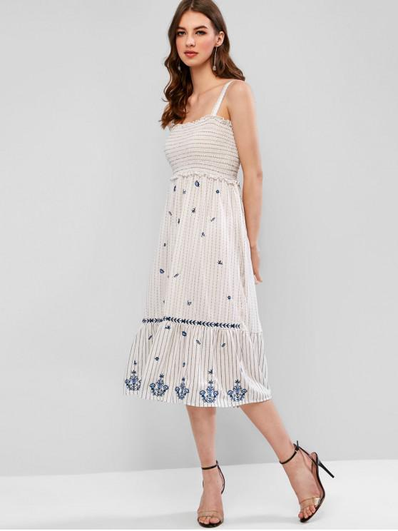 outfits Smocked Stripes Embroidered A Line Dress - WHITE M