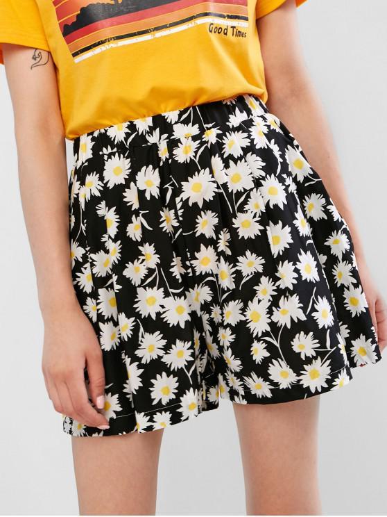 Hohe Taille Daisy Print-Shorts mit weitem Bein - Schwarz Eine Größe