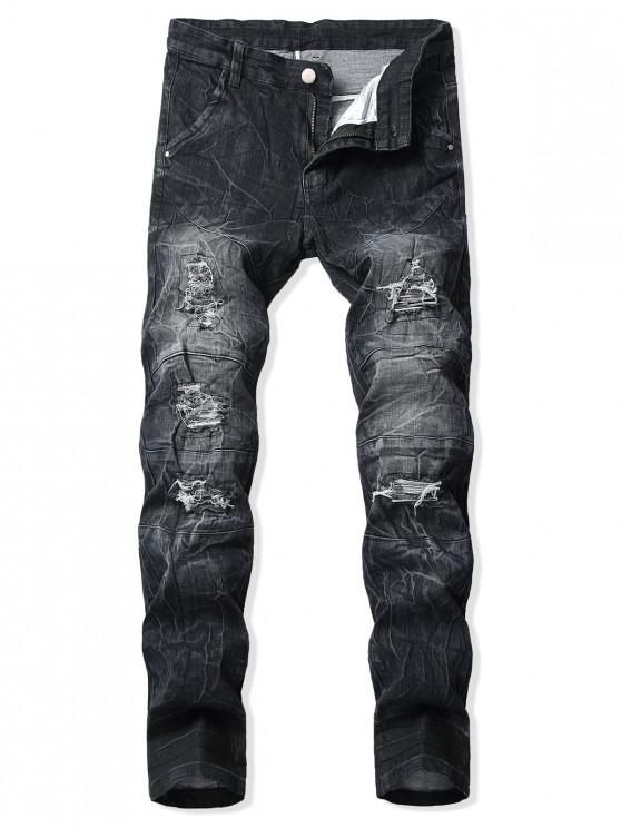 ladies Long Straight Ripped Patchwork Splicing Jeans - BLACK 36