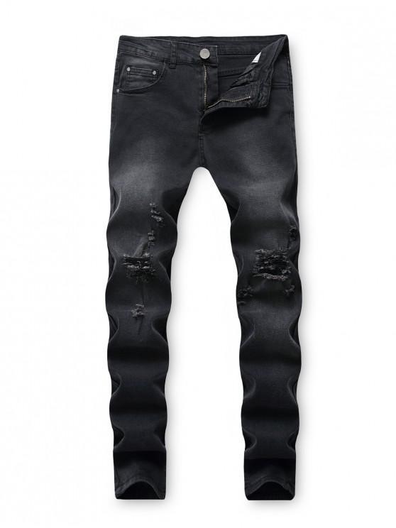 latest Destroy Wash Ripped Back Pocket Long Jeans - BLACK 42