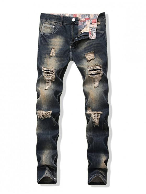 affordable Distressed Faded Wash Long Straight Ripped Denim Pants - DENIM DARK BLUE 32