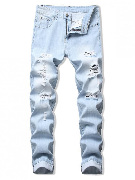Pantalones de mezclilla casual rasgados rectos largos de color sólido - Azul de Jeans  34
