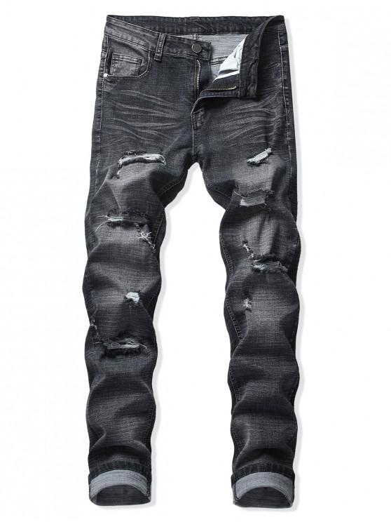 hot Destroy Wash Scratch Long Zipper Fly Jeans - BLACK 34