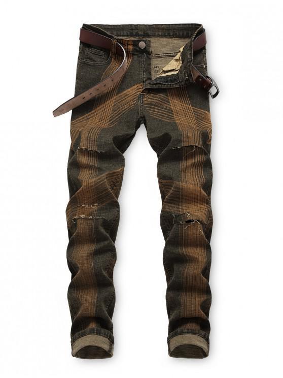 Jeans rasgados con rayas rectas largas y vintage - Marrón Roble 40