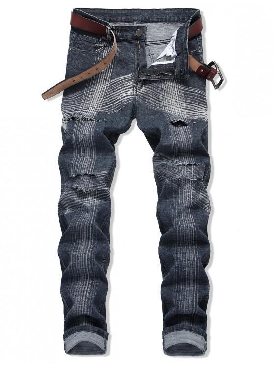 Jeans desgastados con estampado de rayas rectas largas y desgastadas - Azul Oscuro de Denim 40