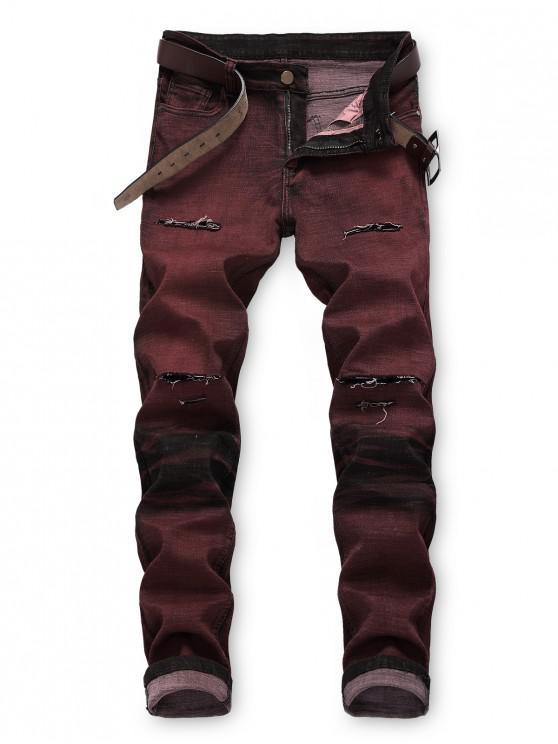Jeans Casual Recto de Impresión de Pintura de Lavación de Lejía - Ladrillo Refractario 42