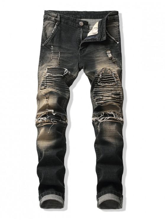 Pantalones de mezclilla rectos largos y rectos plisados desgastados - Anguila Negra 34