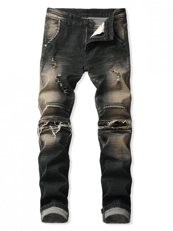 sale Distressed Faded Wash Ripped Patchwork Spliced Jeans - MIDNIGHT BLACK 38