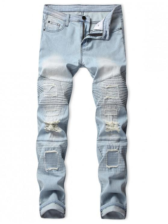outfit Distressed Pleated Patchwork Spliced Ripped Long Biker Jeans - DENIM BLUE 32