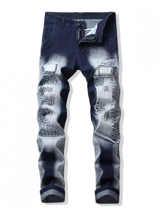 new Faded Wash Stitched Patchwork Long Jeans - DENIM DARK BLUE 34