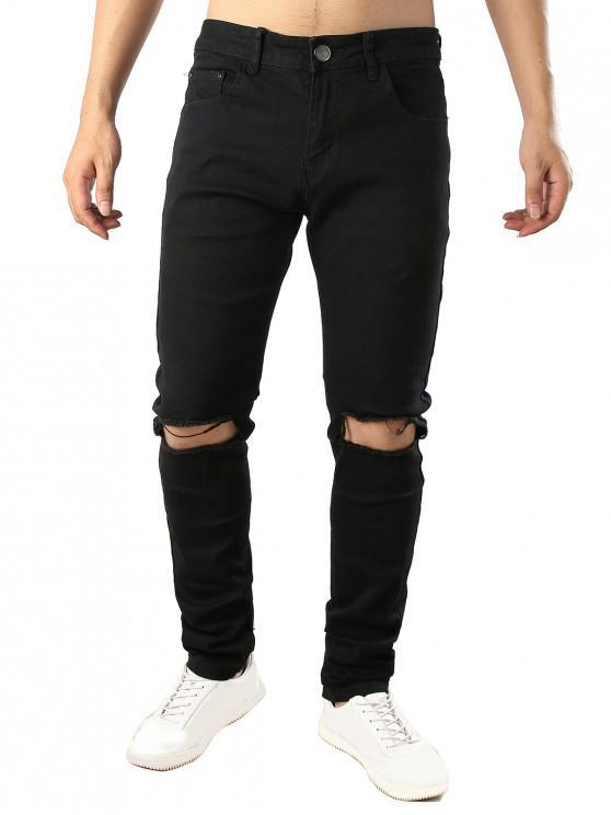 shops Solid Color Destroy Hole Long Casual Jeans - BLACK 38