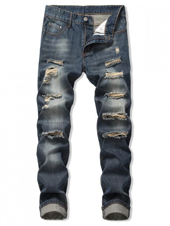 Verblasste Wash Zerrissene Lange Gerade Jeans - Denim Dunkelblau 40