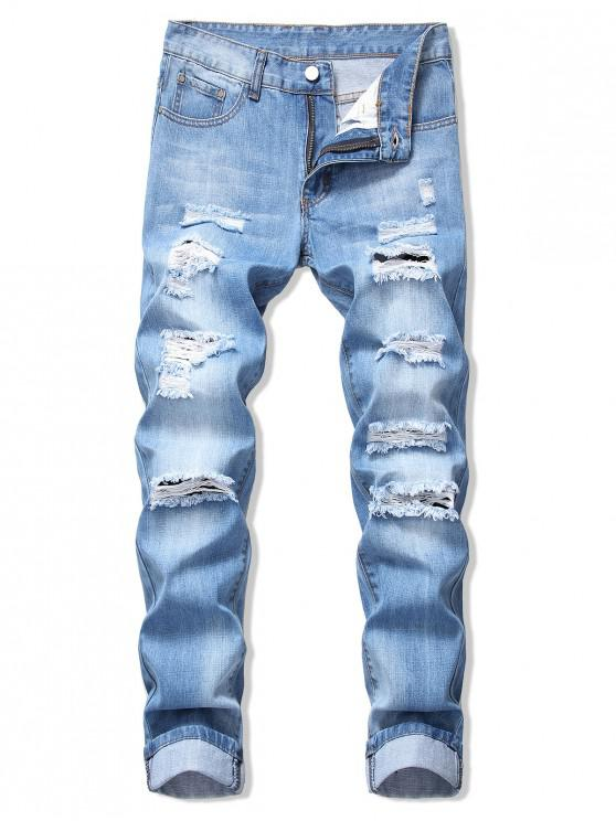 ladies Faded Wash Ripped Long Straight Jeans - DENIM BLUE 32
