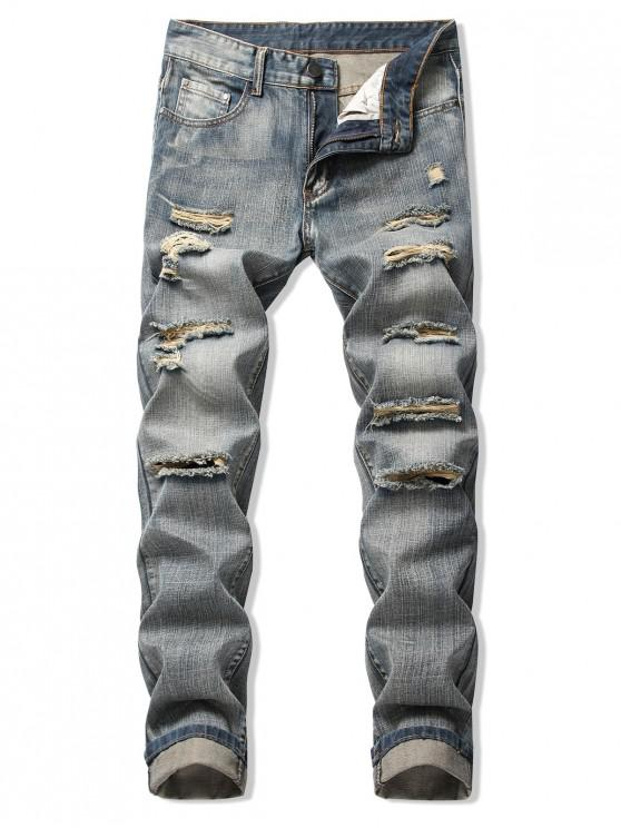 women Faded Wash Ripped Long Straight Jeans - PUCE 36
