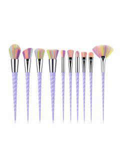 10Pcs Powder Spiral Makeup Brushes - Purple