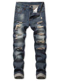 Faded Wash Ripped Long Straight Jeans - Denim Dark Blue 34