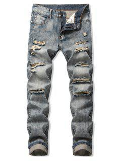 JeansDescolorido Con Cremallera Y Lavado Claro - Marrón Oscuro 36