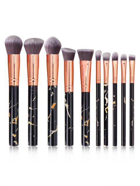 sale 10Pcs Marble Pattern Makeup Brushes - BLACK  Mobile