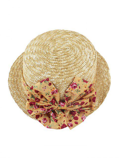 Chapeau de Fleur Imprimée Décoré Nœud Papillon en Paille - Jaune d'Abeille  Mobile