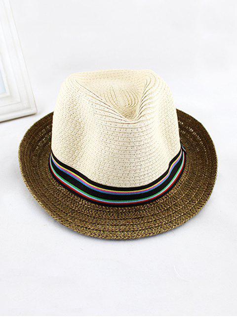 Chapeau Embelli de Rayure Colorée en Paille - Beige  Mobile