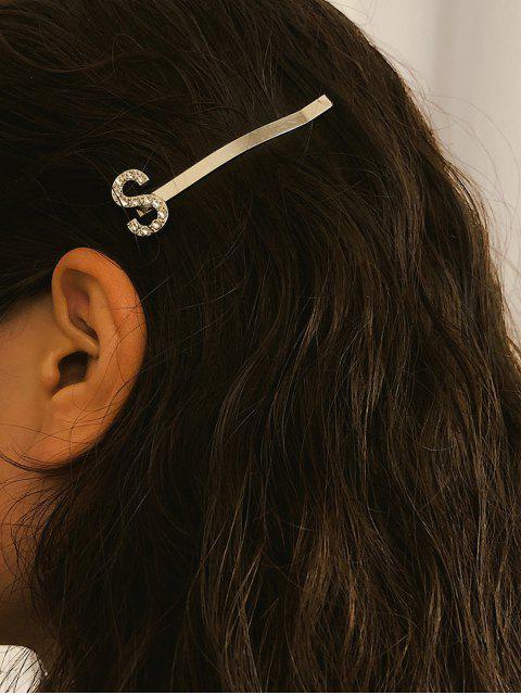 Pince à Cheveux Lettre Design en Métal en Diamant Artificiel - Argent  Mobile