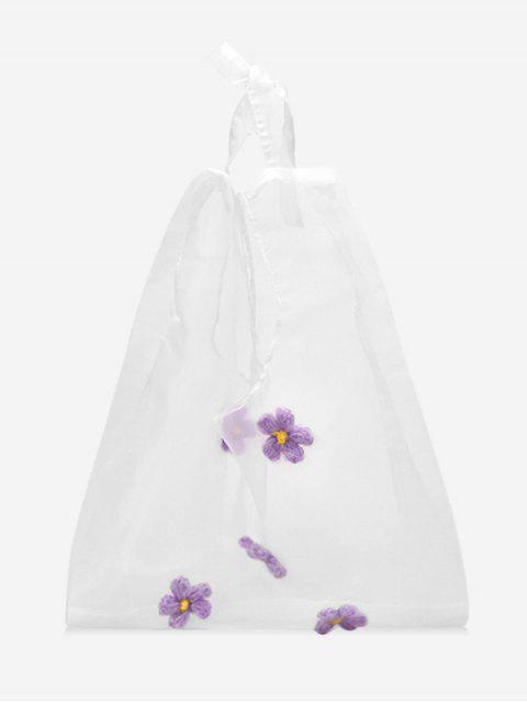 Sac Transparent Décoré de Fleur - Pourpre   Mobile