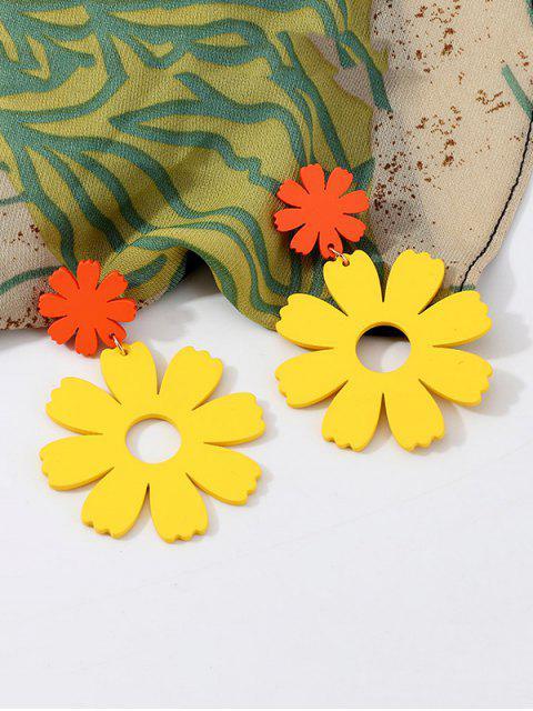 Boucles d'Oreilles Fleur Evidées Pendantes - Jaune  Mobile