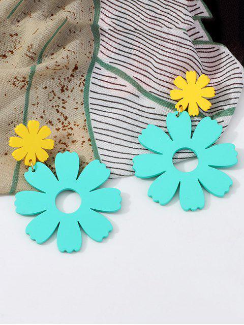 Boucles d'Oreilles Fleur Evidées Pendantes - Ciel Bleu Foncé  Mobile