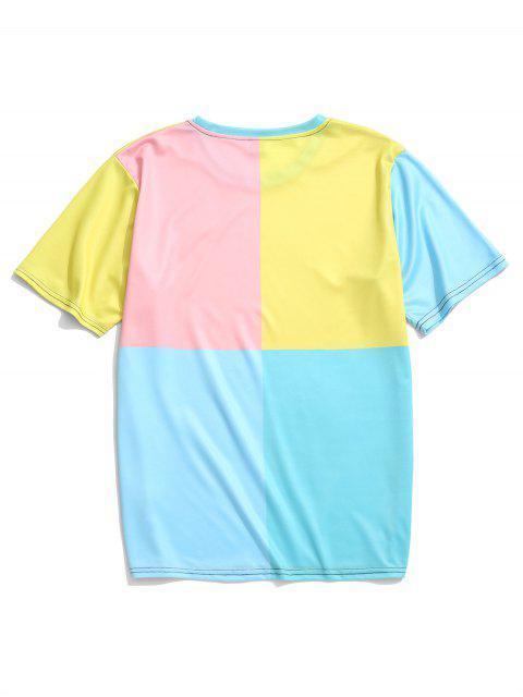 Camiseta de manga corta con paneles de colores bloqueados - Multicolor-A L Mobile