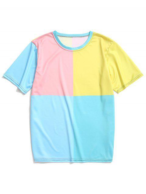Camiseta de manga corta con paneles de colores bloqueados - Multicolor-A 4XL Mobile