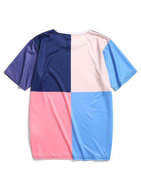 women's Color Blocking Panel Short Sleeves T-shirt - MULTI-B 2XL Mobile