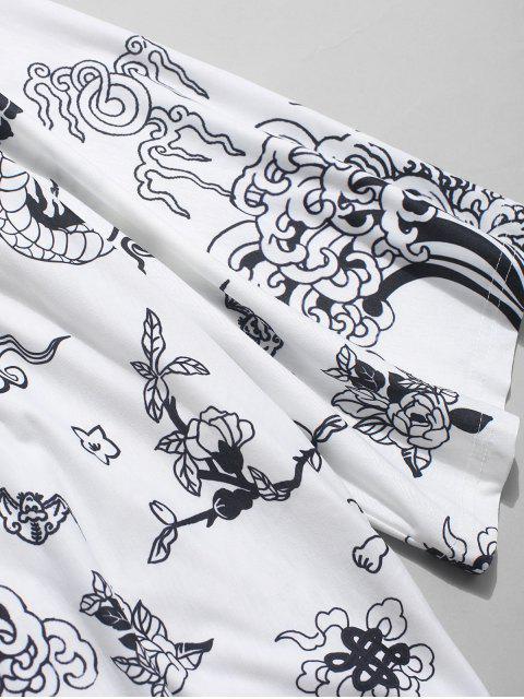 Chemise Kimono ZAFUL à devant ouvert et imprimé dragon - Blanc L Mobile