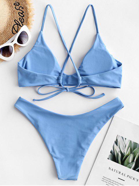 ZAFUL Maillot de Bain Bikini Rembourré Croisé en Blocs de Couleurs - Bleu Koi L Mobile