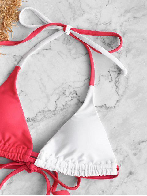 ZAFUL Maillot de Bain Bikini Bicolore à Bretelle - Rouge Haricot M Mobile