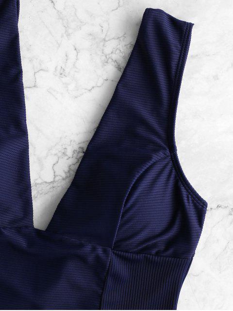 ZAFUL Глубокий воротник Открытая спина Слитный Купальник - Темный-шифер синий S Mobile