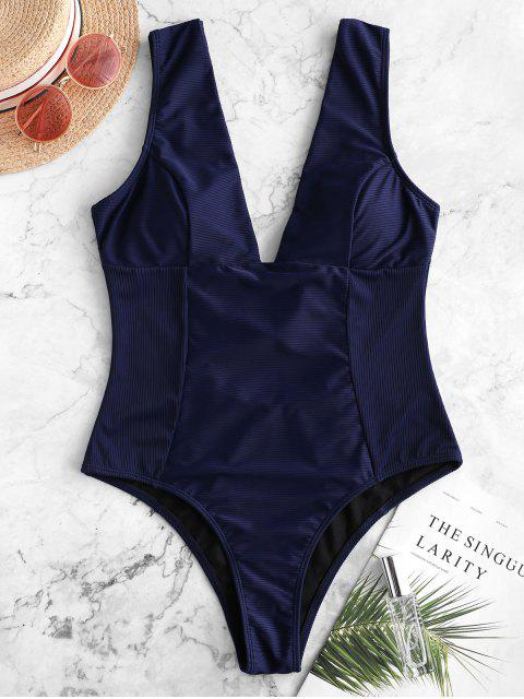 women's ZAFUL Ribbed Plunging Open Back One-piece Swimsuit - DARK SLATE BLUE S Mobile