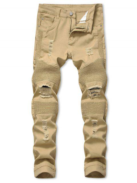 women's Pleated Patchwork Spliced Ripped Long Biker Jeans - KHAKI 36 Mobile
