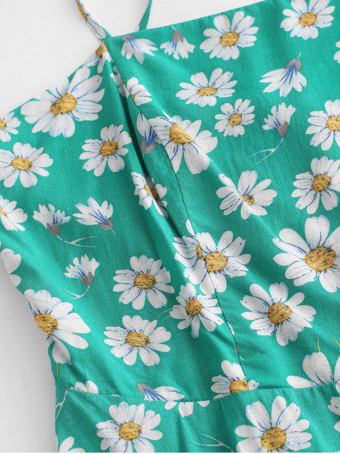 ZAFUL Robe Evasée Fleurie Imprimée Plissée au Dos à Bretelle - Vert XL Mobile