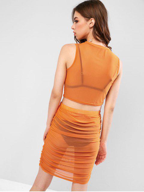 Robe Simple Sanglée en Maille Transparente Deux Pièces - Orange M Mobile