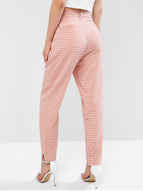 Pantalones rectos de guinga de cintura alta - Rosa S Mobile