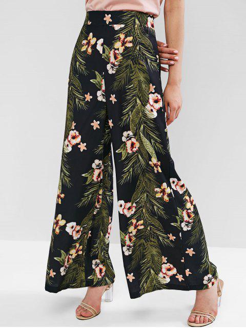 Pantalon Fleuri Feuille à Jambe Large avec Poche Cousue - Multi-A M Mobile