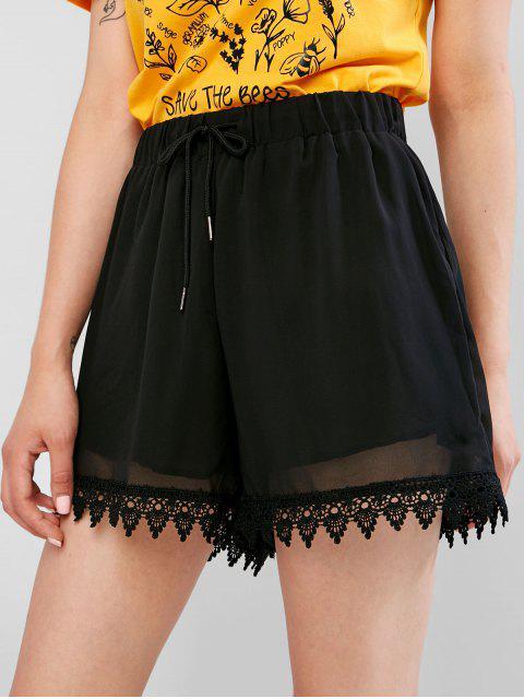 Short à bordures en dentelle au crochet avec cordon de serrage - Noir M Mobile