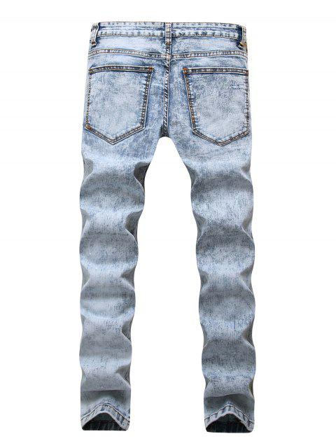 Pantalon Long Déchiré Zippé Délavé Imprimé avec Poche en Denim - Bleu-gris 42 Mobile