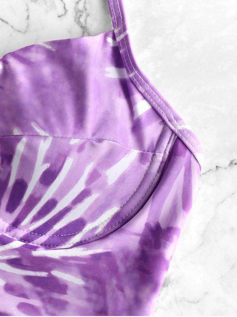women ZAFUL V-notch Spiral Tie Dye Print Underwire Tankini Swimsuit - MAUVE XL Mobile