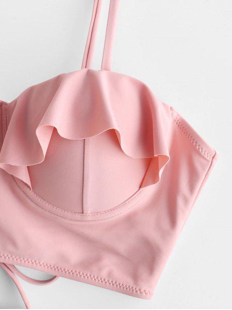 ZAFUL Push Up Ruffle Color Block Tankini traje de baño - Multicolor-A S Mobile
